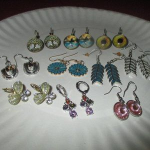 EARRINGS 10 Pairs Many Styles Colors NEW